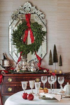 Venetian mirror frames a beribboned wreath. Christmas Front Doors, Christmas Signs Wood, Christmas Door Decorations, Outdoor Christmas, Rustic Christmas, Vintage Christmas, Christmas Holidays, Christmas Wreaths, Christmas Ideas