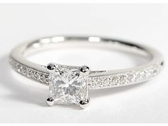 Heirloom Petite Cathedral Pavé Diamond Engagement Ring in White Gold. Simple and beautiful.