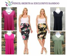 Have you heard of abby + anna boutique? We offer comfortable clothing at affordable prices! Plus size floral pencil skirts with our exclusive bamboo tops!