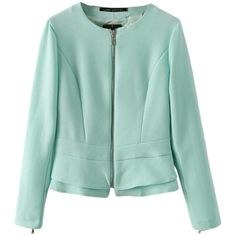 Green Pretty Womens Crew Neck Long Sleeve Ruffle Blazer ($34) ❤ liked on Polyvore featuring outerwear, jackets, blazers, green, long sleeve jacket, j.crew blazer, blazer jacket, ruffle blazer jacket and ruffle jacket