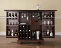 Expandable Bar Cabinet in Vintage Mahogany - Crate and Barrel Look-a-like - Bar Cabinet