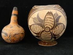 Small Carved Gourd & Carved Coconut Jamaican Flower & Indian Designs