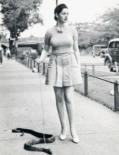 Late 1930's Burlesque dancer Zorita walks her pet snake