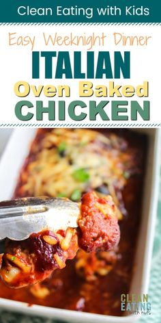Oven Baked Italian Chicken - Clean Eating with kids Italian Chicken Casserole, Italian Baked Chicken, Oven Baked Chicken, Clean Eating Chicken, Clean Eating Dinner, Baby Food Recipes, Healthy Recipes, Healthy Food, Dinner Recipes