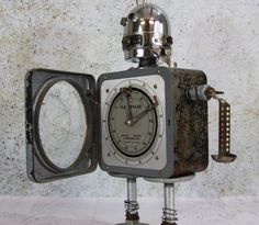 Assemblage Art ROBOT Industrial Decor Major Flexo Recycled