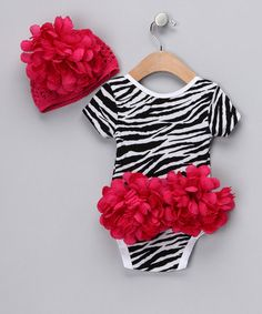Take a look at this Zebra Skirted Bodysuit & Beanie - Infant by Popatu by Posh on #zulily today!