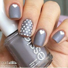 Pewter - White - Hearts - Polka dots - Nail design