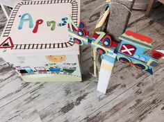 """Ξύλινο κουτί ζωγραφισμένο & λαμπάδα βάπτισης """"Τραίνο"""" https://www.facebook.com/monadiko.accesories/timeline"""