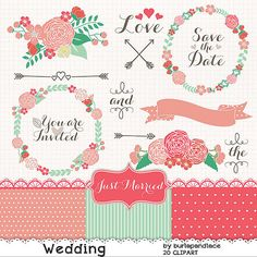 ❤ Wedding wreath clipart flower, purple flower clipart, bridal clipart, coral red, mint, arrows, banner flower cliparts    ❤ INSTANT DOWNLOAD    ❤