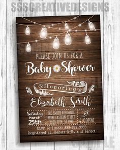 Baby Shower Invitation Rustic Vintage Summer