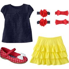 Toddler Girl Snow White Disney Outfit by kristilmy on Polyvore featuring Sonoma life + style, red, disney, yellow, toddler, blue, snow white and girl