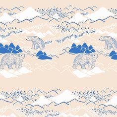 【Polar bear】Orie's animal textile design. #くま #bear #動物 #イラスト #テキスタイルデザイン #textile #design #柄 #デザイン Textile Patterns, Textile Prints, Textile Design, Textiles, Bear, Pink, Animals, Mood, Animales