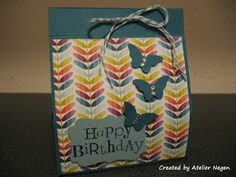 Stampin' Up! Simply Scored Scoring tool, Decorative Label punch, Bitty Butterfly punch, Wacky Wishes stamp set