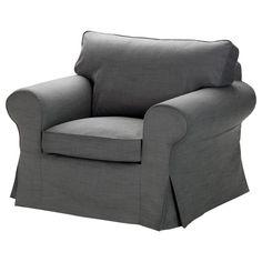 New Ikea Ektorp Grey Armchair Slipcover Chair Cover Svanby Gray Cotton Linen NIP #IKEA #Traditional