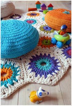 Emérita Desastre: Crochet: Alfombras de trapillo uniendo muestras