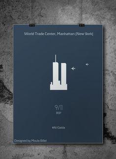 Minimalist Graphic Design Posters Les attentats du 11 septembre 2001Designed By Moula Billel