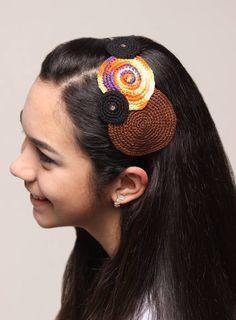 Casquete de crochê, em formato de círculos