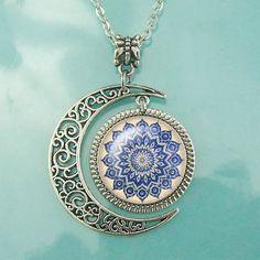 http://www.beautifulseasondiy.com/ Mandala necklace Floral pendant Moon jewelry Custom Personalized Necklaces Gift #Handmade #Pendant