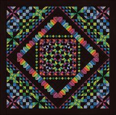 2015: www.quiltaddictsanonymous.com, free block of the month.using Calypso kaleidoscope, Moda Calypso Batiks