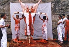 By Hermann Nitsch, what do you think of this one? I know you have interest in biblical imagery, what does this piece make you feel?