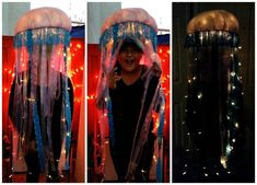 Jellyfish Halloween Costume. Tutorial on how to make a small lighted jellyfish costume for Halloween.