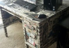 Used mod podge and vintage magazines to give desk a new look
