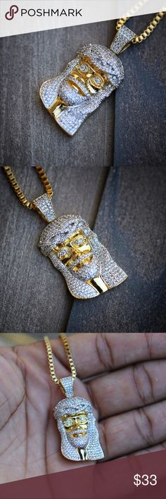 14K Gold Plated Mini Jesus Piece Necklace 14K Gold Plated Iced Out Lab Diamond Mini Micro Jesus Piece Chain NecklaceNewest chain style in the hip hop fashion world.This Piece is made of brass with a high quality 14k gold plating on top with rhodium to compliment the shine of the lab diamonds.The piece size in length is 15mm.This piece comes with a 14K Gold Plated  24inch in length 1.5 mm width box chain material is stainless Steel. Ts Verniel Accessories Jewelry