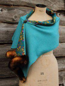 Harriet Hoot Bespoke Harris Tweed & Vintage Fur Wrap