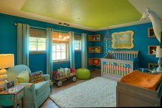 Charming Unisex Baby Room Themes and Bedding Ideas: Remarkable Unisex Babies Room Themes With And Lime Green Ceiling And Blue Wall Plus Shag Rug And Gourd Lamp For Colorful And Nursery Design ~ oiprs.com Bedroom Design Inspiration