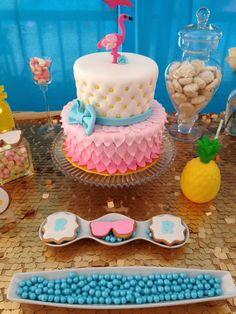 Flamingo pineapple birthday party cake