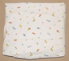 Carters White Jungle Safari Zoo Animals Fitted Crib Sheet Baby Blue Green Red #Carters