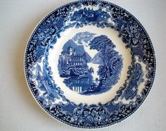 "Petrus Regout & Co,, Blue Luncheon or Salad Plate, ""Castillo"", Castle, Made in Holland, Maastricht, Dutch Design,Vintage 1920/1930 door VasioniVintage op Etsy"