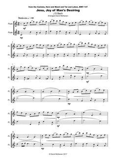 Jesu Joy of Man's Desiring, J S Bach, Duet for two Flutes