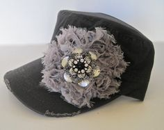 Grey Cadet Military Distressed Army Hat with a by theraggedyrose, $35.00