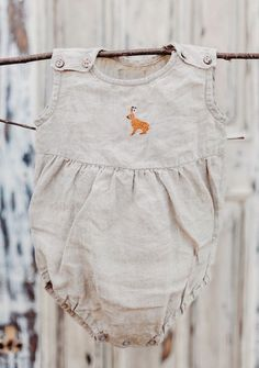 Handmade Linen Romper With Embroidered Rabbit | Lapetitealice on Etsy
