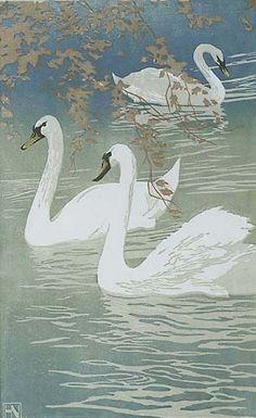 Hans Neumann, Jr. (German, (1873-1957). Swans. c. 1920-30. Woodcut.