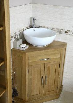 Corner Bathroom Vanity Oak And Ceramic Sink Set Click