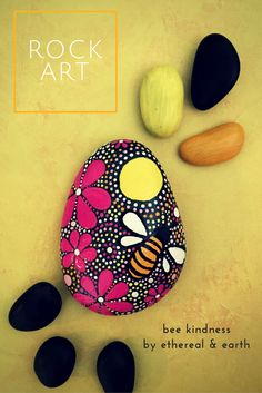 Rock Art with Bee Design. Bee Kindness on Hand Painted Rock by ethereal & earth Rock Art! Free USA Shipping!