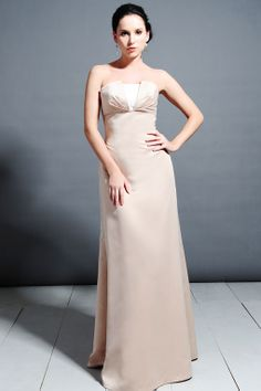 Strapless satin bridesmaid dress with empire waist