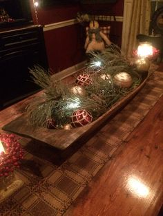 This how I decorated my large trencher at Christmas time. This how I decorated my large trencher at Christmas time. But need some great ideas for after the holidays! Primitive Christmas Decorating, Prim Christmas, Simple Christmas, Christmas Holidays, Vintage Christmas, Country Christmas, Primitive Fall, Cheap Christmas, Christmas Christmas