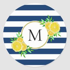Shop Cool Navy Stripe Yellow Watercolor Lemons Monogram Classic Round Sticker created by DHArtAndCompany. Personalize it with photos & text or purchase as is! Yellow Party Themes, Lemon Party, Striped Background, Summer Design, Navy Stripes, Navy Blue, High Contrast, Monogram Initials, Round Stickers