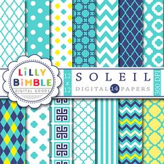 50% off SOLEIL digital paper scrapbook teal yellow by LillyBimble