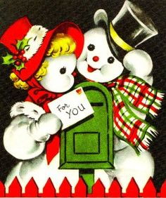 Smiling images of Mr. and Mrs. Snowman were popular in the 1940s on Christmas cards. The snowy couple pops up frequently in 1940s art, sometimes wearing tropical Miami-style hats and always sporting huge Hollywood smiles. Learn more about different vintage Christmas card designs during the 20th century.