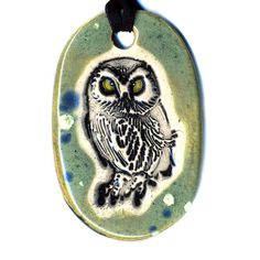 Owl Ceramic Necklace in Spotted Green by surly on Etsy, $18.00