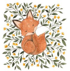 "Cute Fox Art Print 5"" x 5"""