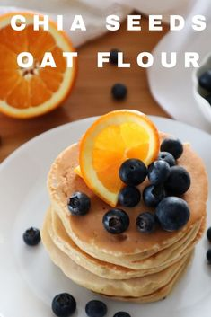 Are you on the hunt for some easy and fluffy oat flour pancakes? Well, search no more! For some reason, I seem to prefer any oat flour pancake the next day, cold, with honey. These are no exception. But they are also delicious hot, just out of the pan. Just add your favorite toppings, and enjoy. #video #pancakes #chia #oatflour Oat Flour Pancakes, Fluffy Pancakes, Thing 1, Soy Milk, Chia Seeds, Blueberry, Honey, Vegetarian, Cold