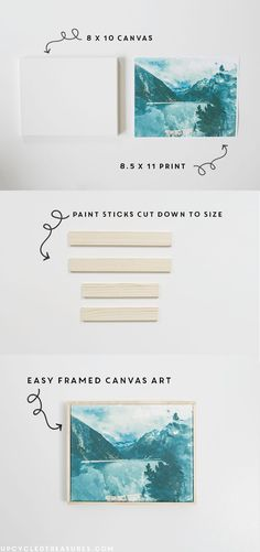 How to easily transfer images to canvas plus a super simple frame made out of paint sticks! http://MountainModernLife.com