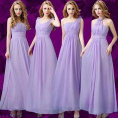 Belle robe demoiselle d'honneur pas cher lavande longue pour mariage en mousseline 4 modèles à choisir