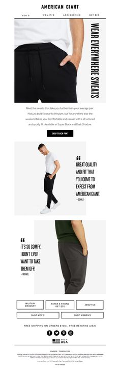 american_giant2 American Giant, Email Design Inspiration, Email Newsletters, Black Jeans, Menswear, Sporty, Comfy, How To Wear, Pants