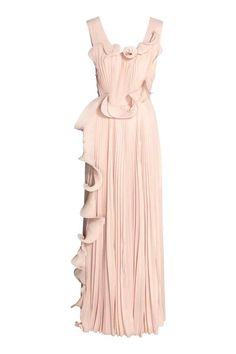 b8cd30b940e Длинное платье плиссе - Бежевая пудра - | H&M RU Chiffon Kjoler, Tyl,  Kvinder